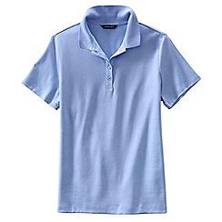 Lands' End - Blue women's regular short sleeve pima polo shirt classic fit