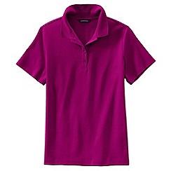 Lands' End - Pink women's regular short sleeve pima polo shirt classic fit
