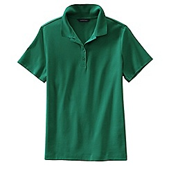 Lands' End - Green women's petite short sleeve pima polo shirt classic fit