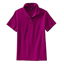 Lands' End - Pink petite short sleeve pima polo shirt classic fit