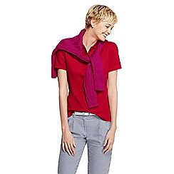 Lands' End - Red women's pima short sleeve tri colour tipped polo shirt petite