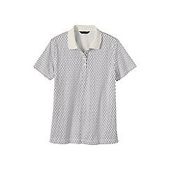 Lands' End - Cream short sleeve tipped collar printed pima polo