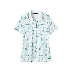 Lands' End - White short sleeve tipped collar printed pima polo