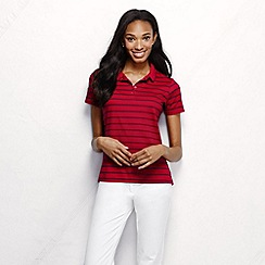 Lands' End - Red women's short sleeve tipped collar printed pima polo