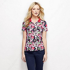 Lands' End - White women's short sleeve tipped collar printed pima polo
