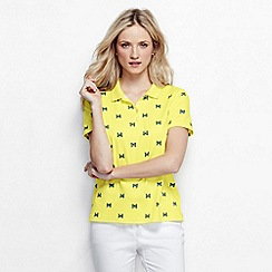 Lands' End - Yellow women's short sleeve tipped collar printed pima polo