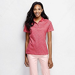 Lands' End - Pink women's short sleeve tipped collar printed pima polo