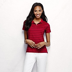 Lands' End - Red women's short sleeve tipped collar printed pima polo petite