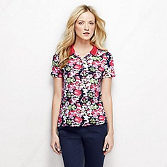 Lands' End - White women's short sleeve tipped collar printed pima polo petite