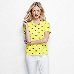 Lands' End - Yellow women's short sleeve tipped collar printed pima polo petite