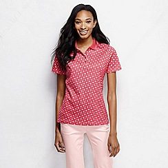 Lands' End - Pink women's short sleeve tipped collar printed pima polo petite