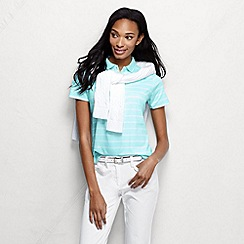 Lands' End - Blue women's short sleeve tipped collar printed pima polo petite