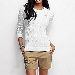 Lands' End - White women's drifter cable jumper