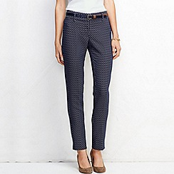 Lands' End - Blue women's regular essential mid rise jacquard slim trousers