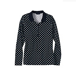 Lands' End - Blue slim fit dot print long sleeve pima polo
