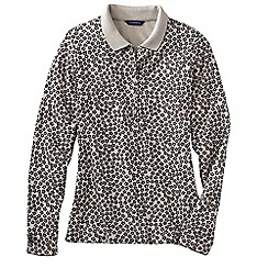 Lands' End - Cream women's slim fit dot print long sleeve pima polo