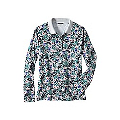 Lands' End - Multi petite slim fit dot print long sleeve pima polo