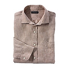 Lands' End - Brown regular linen shirt