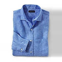 Lands' End - Blue regular linen shirt