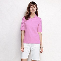 Lands' End - Pink women's slim fit elbow sleeve pima polo