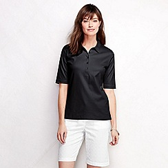 Lands' End - Black women's slim fit elbow sleeve pima polo