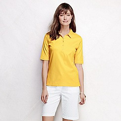 Lands' End - Yellow women's slim fit elbow sleeve pima polo