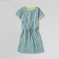 Lands' End - Blue little girls' short sleeve striped cinched waist knit dress