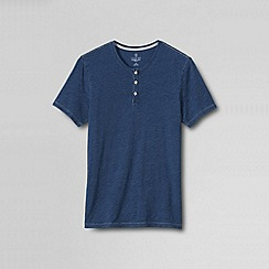 Lands' End - Blue men's slim seaworn indigo washed henley tee