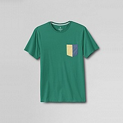 Lands' End - Green men's slim seaworn crew tee  - maritime signal pocket