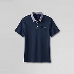Lands' End - Blue men's slim supima woven collar polo shirt