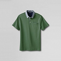 Lands' End - Green men's slim supima woven collar polo shirt