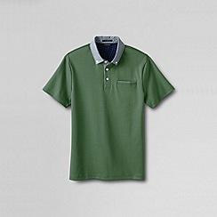 Lands' End - Green men's slim supima woven collar polo shirt