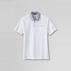 Lands' End - White men's slim supima woven collar polo shirt