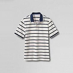 Lands' End - Cream men's original pique short sleeve stripe polo - pop collar