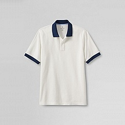 Lands' End - Cream men's short sleeve original pique polo shirt