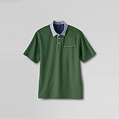 Lands' End - Green men's short sleeve supima woven collar polo shirt