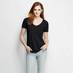 Lands' End - Black women's tri-blend jersey V-neck tee tall