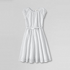 Lands' End - White little girls' short sleeve eyelet twirl dress