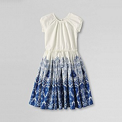 Lands' End - White little girls' short sleeve woven twirl dress