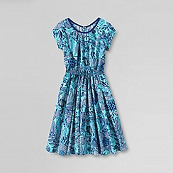 Lands' End - Blue little girls' short sleeve woven twirl dress