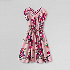 Lands' End - Pink girls' short sleeve woven twirl dress
