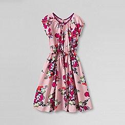 Lands' End - Pink girls' short sleeve woven twirl dress