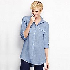 Lands' End - Blue petite long sleeve linen tunic