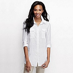 Lands' End - White women's long sleeve linen tunic