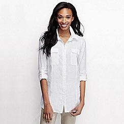 Lands' End - White women's long sleeve linen tunic