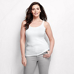 Lands' End - White women's light weight cotton modal rib camisole