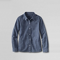 Lands' End - Blue girls' chambray woven blouse