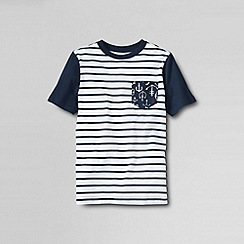 Lands' End - White boys' short sleeve pattern block super tee