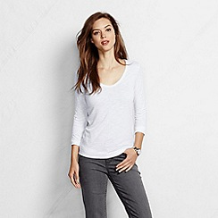 Lands' End - White women's three quarter jersey V-neck tee