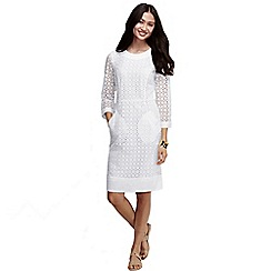 Lands' End - White women's regular elbow sleeve broderie anglaise shift dress